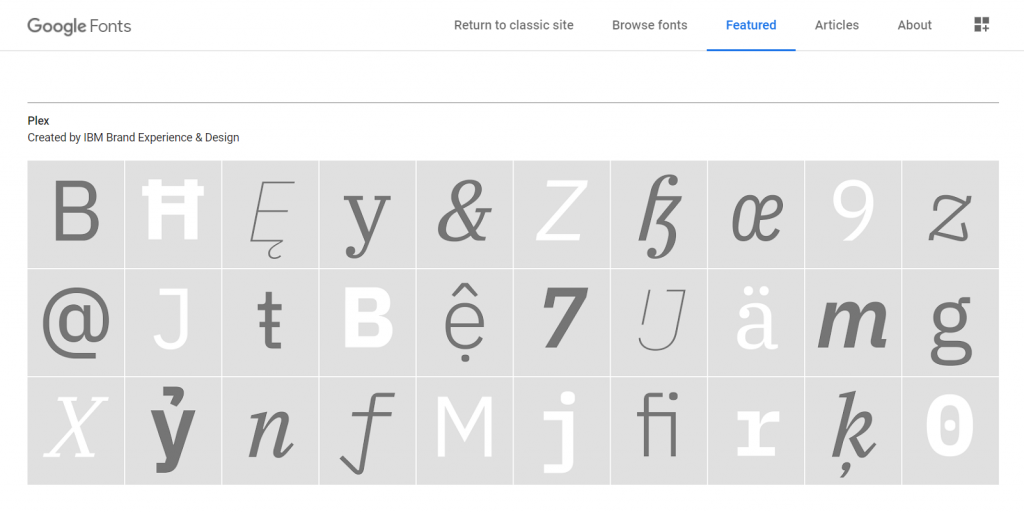 Google Fonts Features